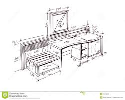 modern interior design desk freehand drawing royalty free stock