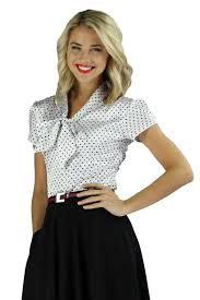 White Blouse With Black Bow Modest Tops Satin Bow Blouse In Polka Dot