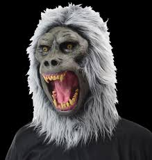 Realistic Halloween Costumes Realistic Gray Baboon White Hair Ape Gaping Mouth Halloween