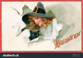 vintage witch illustration halloween witch black cat 1909 vintage stock photo 1952027