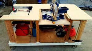 Woodworking Bench Top Material by Mobile Workbench With Built In Table U0026 Miter Saws 8 Steps With