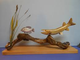 creative wood sculptures muskie crappie carved wood sculpture 175 00 via etsy