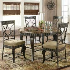 Dining Room Sets Round Steve Silver Hamlyn 5 Piece Round Faux Marble Top Metal Dining