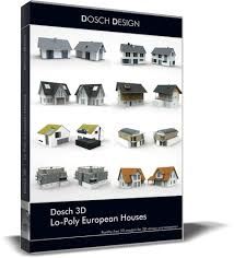 european houses game ready dosch 3d lopoly european houses cgtrader