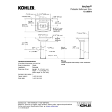 Kohler Archer Pedestal Sink by Kohler K 2359 8 0 Archer White Pedestals Single Bowl Bathroom