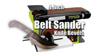 diy easy 4 inch belt sander knife bevel and plunge cuts youtube
