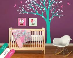 Purple Nursery Wall Decor Large Tree Wall Decal Nursery Wall Decor Mural Baby Decals Sticker