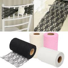 24 yards lace roll fabric tulle table runner chair sash craft