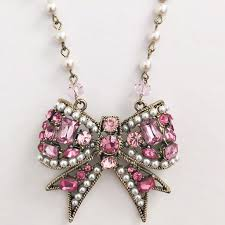 pink rhinestone necklace images Betsey johnson jewelry pink rhinestone bow necklace poshmark jpg