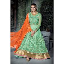 buy pista green anarkali suit online women ethnic wear at