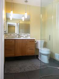 mid century vanity bathroom midcentury with cambria quartz glass