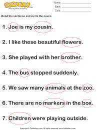 identify and circle nouns in a sentence worksheet turtle diary