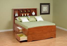 Bedroom Furniture Bookcase Headboard Minimalist Bedroom With Platform Storage Bed Bookcase Headboard
