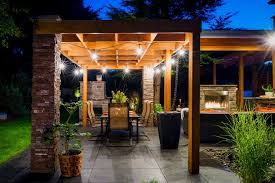 Exterior String Lights by Outdoor String Lights Patio Rustic With Wood Pergola Traditional