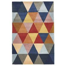Rugs Modern by Prism Designer Wool Rug Rust Blue Navy Free Shipping Australia