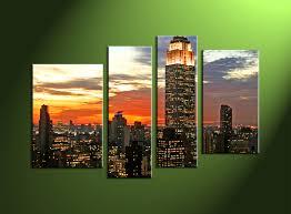 4 piece city black canvas art prints