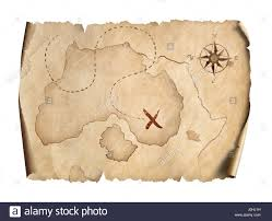 Old Treasure Map Old Pirates Treasure Scroll Map Isolated On White Stock Photo