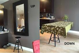 Wall Mounted Folding Kitchen Table A Hideaway Dining Table Using Ikea Mirror Ikea Hackers Ikea