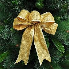 color large silver gold ribbon bow tree