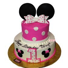 1744 2 tier 1st birthday cake with pink minnie mouse ears abc