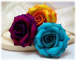 Multicolor Roses Variegated Rose Hair Pins Tipped Rose Hair Clips Two Tone Rose