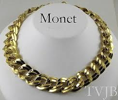 large gold link necklace images Vintage monet large double link necklace the vintage jewelry jpg