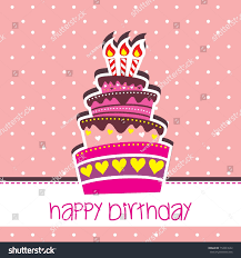 happy birthday cake card vector pink stock vector 159993542
