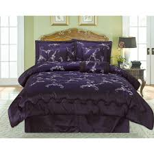 bedroom queen size deep purple patterned comforter and sham also