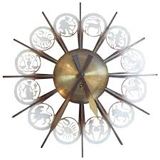 themed wall clock bronze mid century german zodiac themed wall clock for sale at 1stdibs
