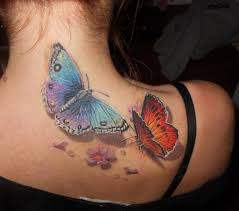 two butterflies on neck