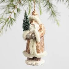 paper pulp world santa ornaments set of 3 world market