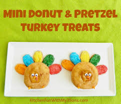 thanksgiving mini donut and pretzel turkey treats kitchen