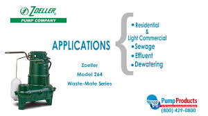 zoeller model 264 waste mate series sewage pump highlight youtube