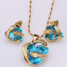 fashion jewelry necklace sets images Awesome 3 pcs gems blue onyx gold color earrings pendant necklace jpeg