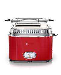 Red 2 Slice Toaster Retro Style 4 Slice Toaster Red U0026 Stainless Steel Russell Hobbs