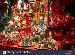 christmas decorations displayed for sale at a christmas market