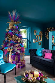 Blue And Gold Home Decor Excellent Xmas Tree Decorations Ideas With White Fake Snow And Red