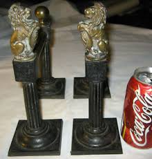 lion book ends antique fireplace andirons dog hearth stove cast iron brass