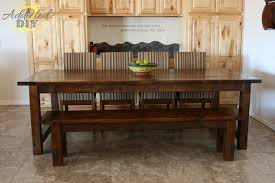 Rustic Dining Room Table With Bench Dining Chairs For Rustic Farm Table Best Gallery Of Tables Furniture
