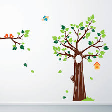 birds and blossom wall sticker tree and bird wall decor jungle tree wall sticker