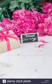 Peony Flowers Pink Peony Flowers Gift Box And Notes Good Morning On White Rustic