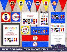 superhero party printable instant download superhero