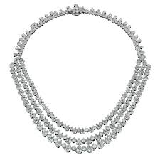 platinum necklace diamond images Fascinating three row diamond platinum necklace for sale at 1stdibs jpg