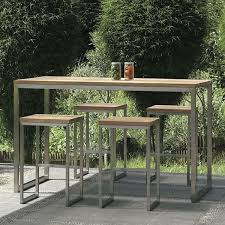 Patio Bar Height Table And Chairs by Mamagreen Oko Teak Outdoor Bistro Table Bar Height