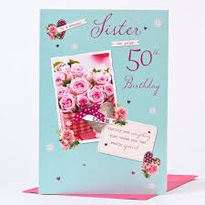 50th birthday card sister pink roses only 1 49