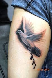 realistic 3d flying bird tattoo on back in 2017 real photo