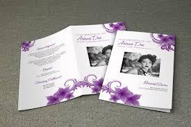 sle of funeral programs purple flower funeral program template printable memorial