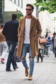 light tan suede chelsea boots men s camel overcoat white crew neck t shirt light blue ripped