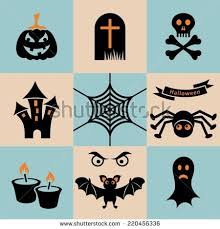 scary halloween clipart black and set black orange scary halloween icons stock vector 220456336