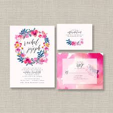 watercolor wedding invitation suite featuring bright u0026 bold